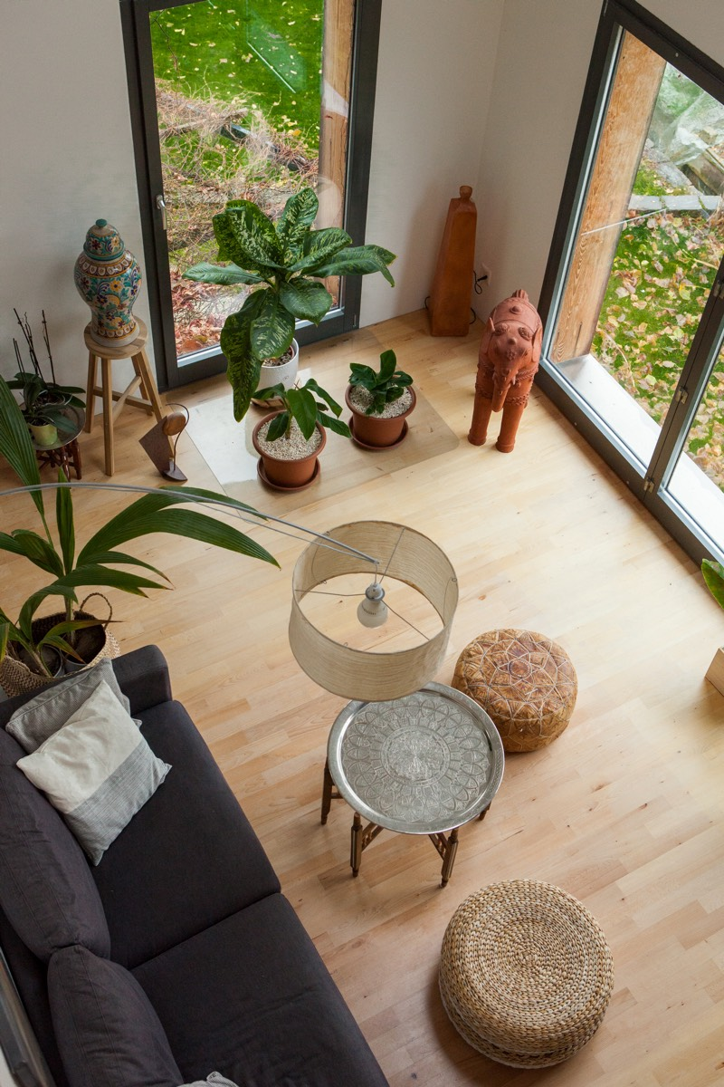 A bird's-eye view of the living room with many plants