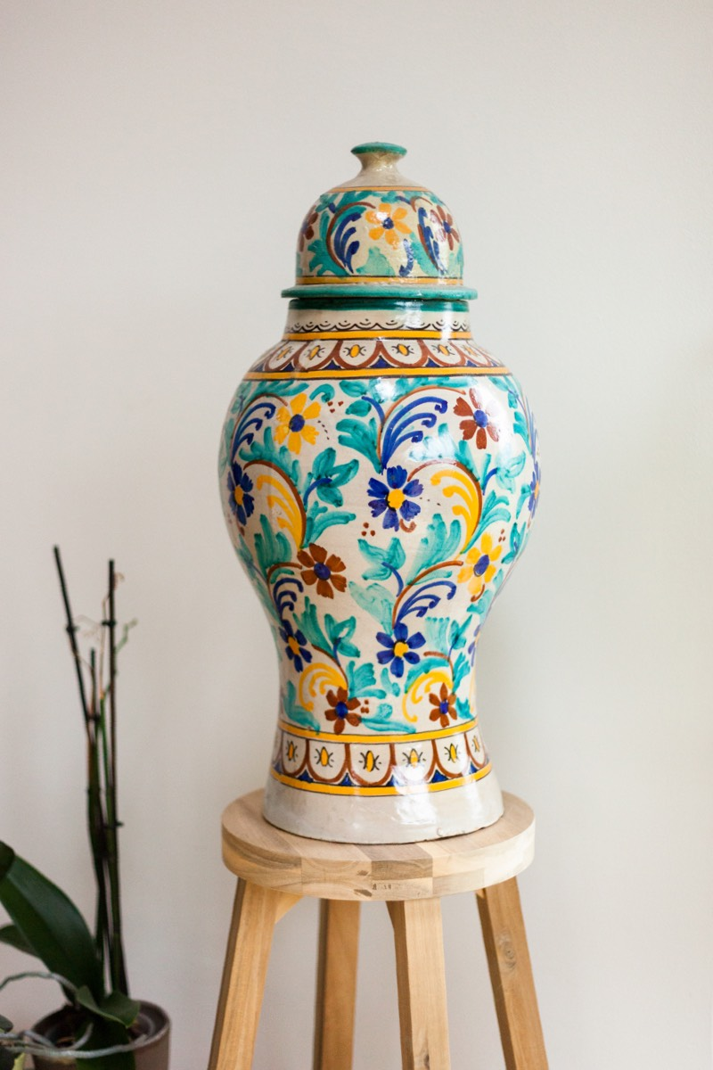 A colourful vase which was given to Beni