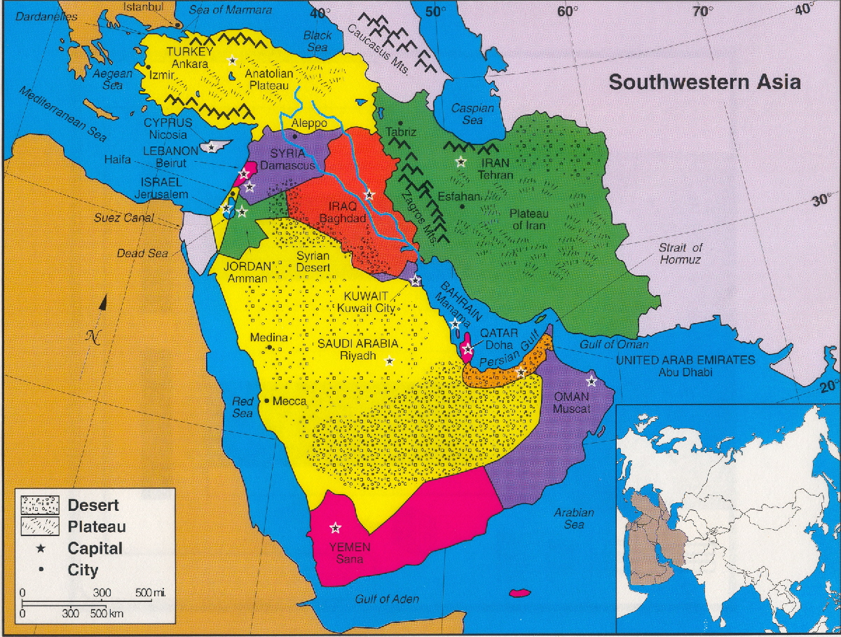 Southwest Asia North Africa Map