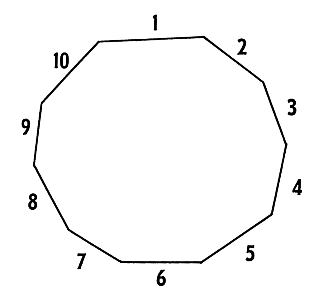 This shape is called a decagon and has ten sides Exterior angle of a 12 sided polygon