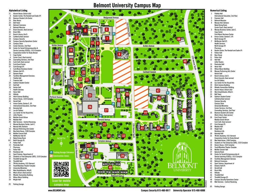 Belmont University Campus Map
