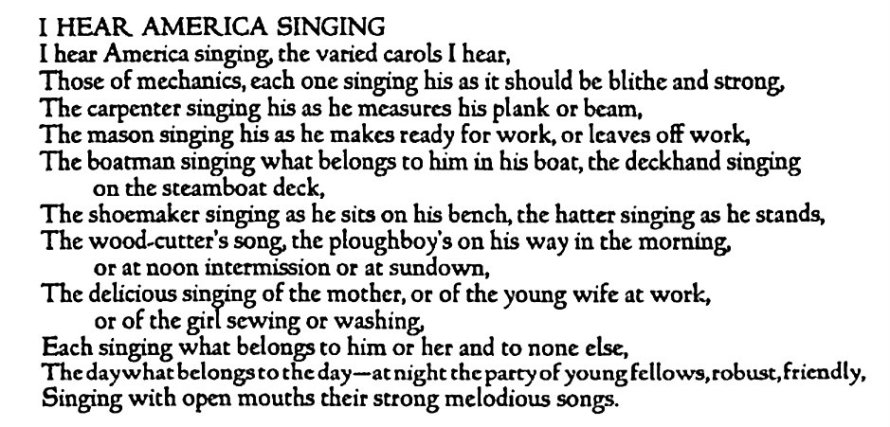 essay on i hear america singing The american dream unit overview if asked to describe the essence and spirit essay: excerpt from self-reliance, by ralph waldo emerson i hear america singing, by walt whitman poetry: i, too.