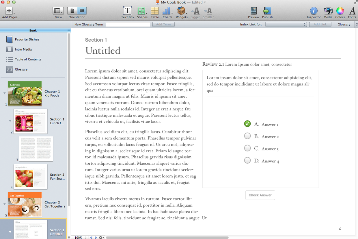 Moving Around in iBook Author