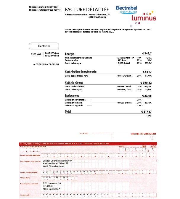 La facture électrique en Wallonie