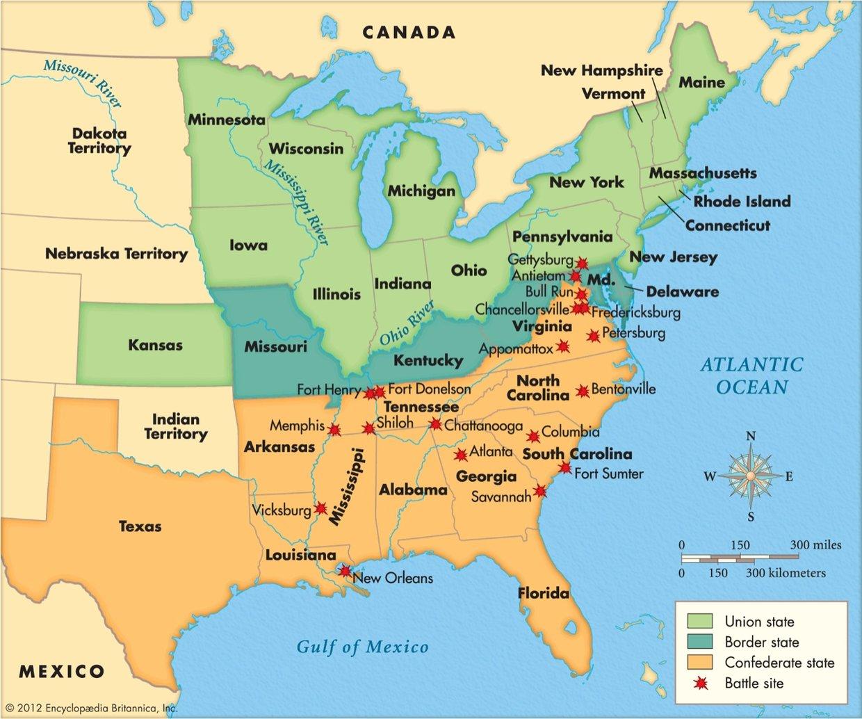Union American Civil War Wikipedia Of The American Civil War - Map usa southern states