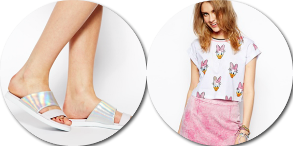 asos saved items wishlist holographic pool sliders daisy duck top