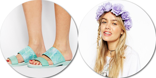 asos saved items wishlist pool sliders floral garlands