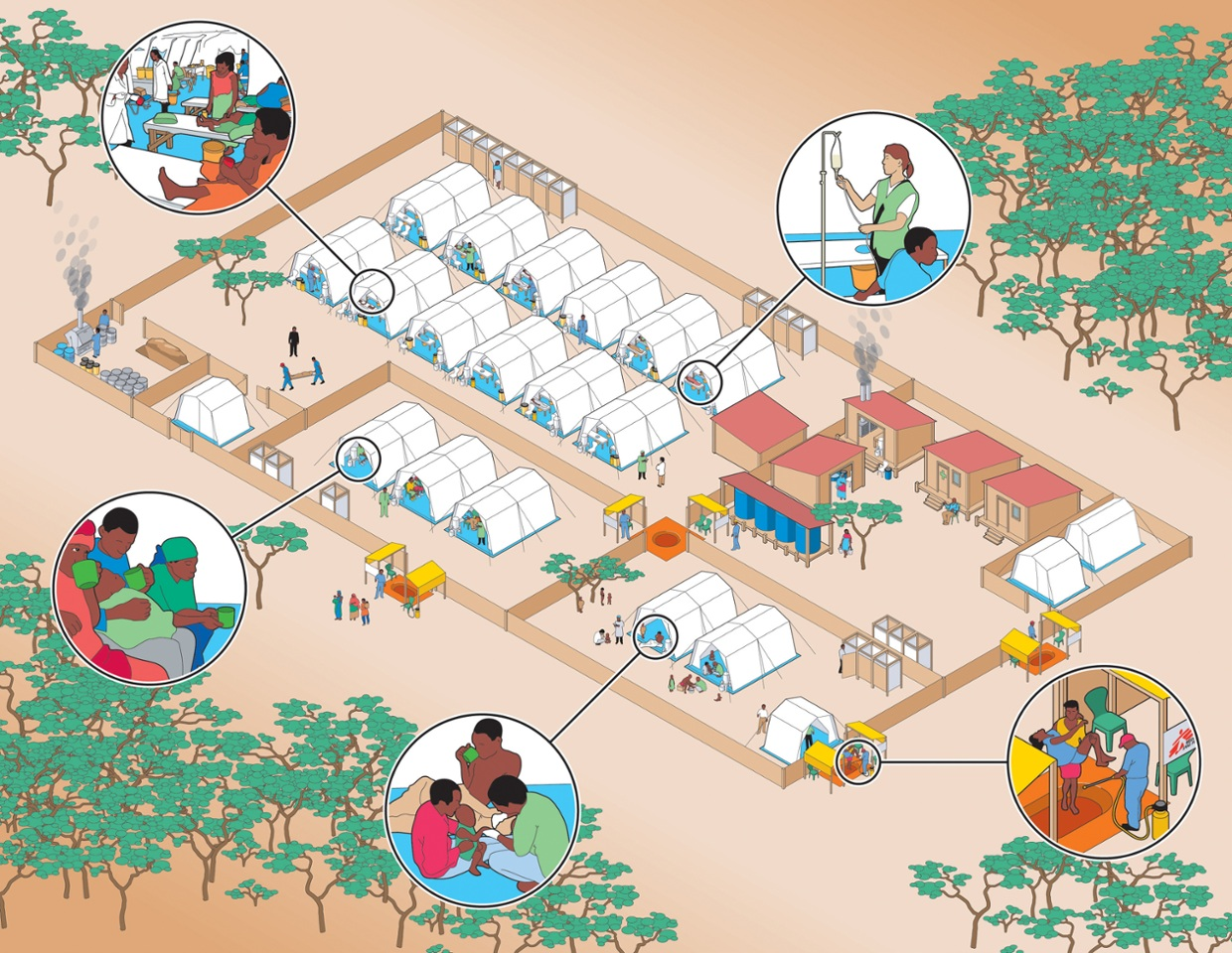 An interactive guide to an MSF cholera treatment centre