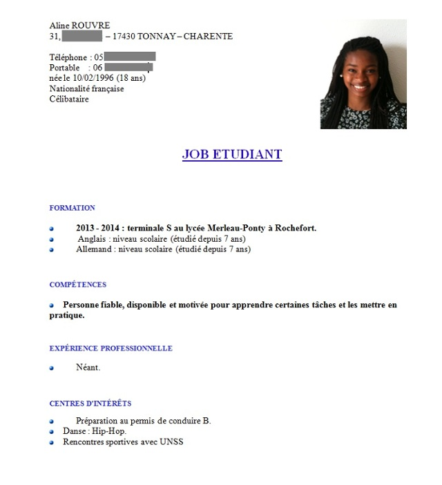 exemple cv job d ete 18 ans