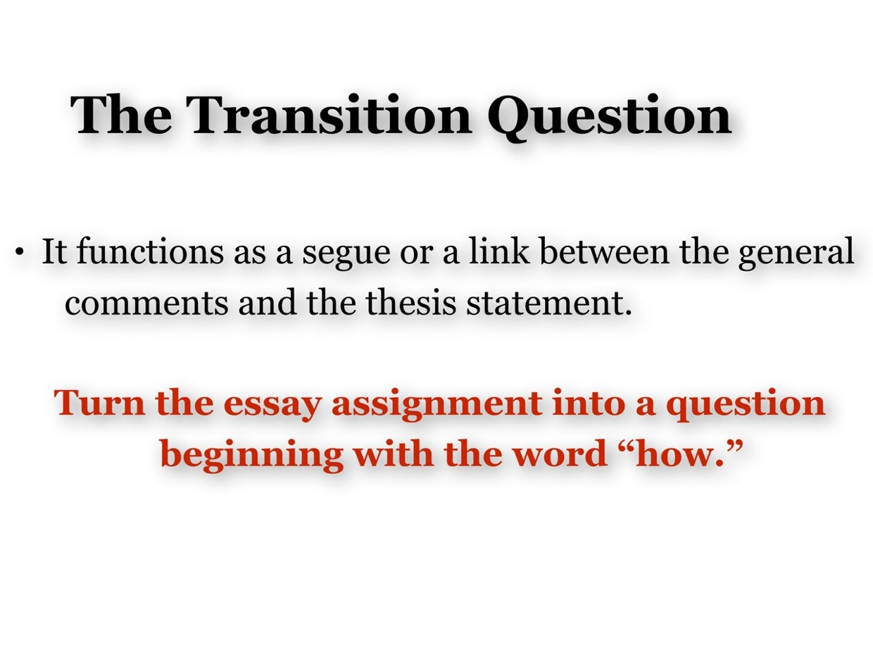 transition in essays definition Using transitional words and phrases transitions enhance logical organization and understandability and improve the connections between thoughts they indicate.