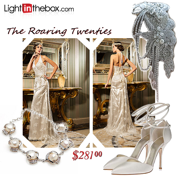 This Vintage inspired wedding ensemble is inspired by the Roaring Twenties. I'll admit, slimmer profiles can pull this off best, but don't let the gossamer draping fool you; any bridal budget can afford attention to detail with this Sheath Halter Lace Wedding Dress from Light In The Box. Because of the stunning beauty of this gown, accessorize lightly, with a loose up-do accented by a hand-beaded headpiece and delicate pearl jewelry. Finish with a simple pair of satin pointed pumps and be ready to turn heads on your wedding day! #FashionistaEvents #Sponsored