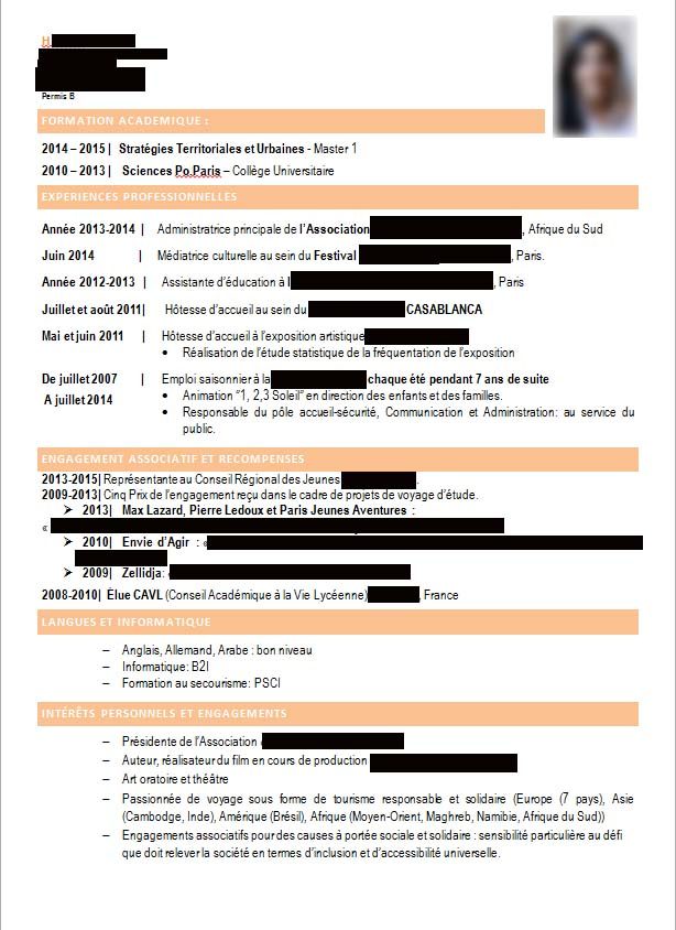 correction de cv   dipl u00f4m u00e9e de sciences po paris