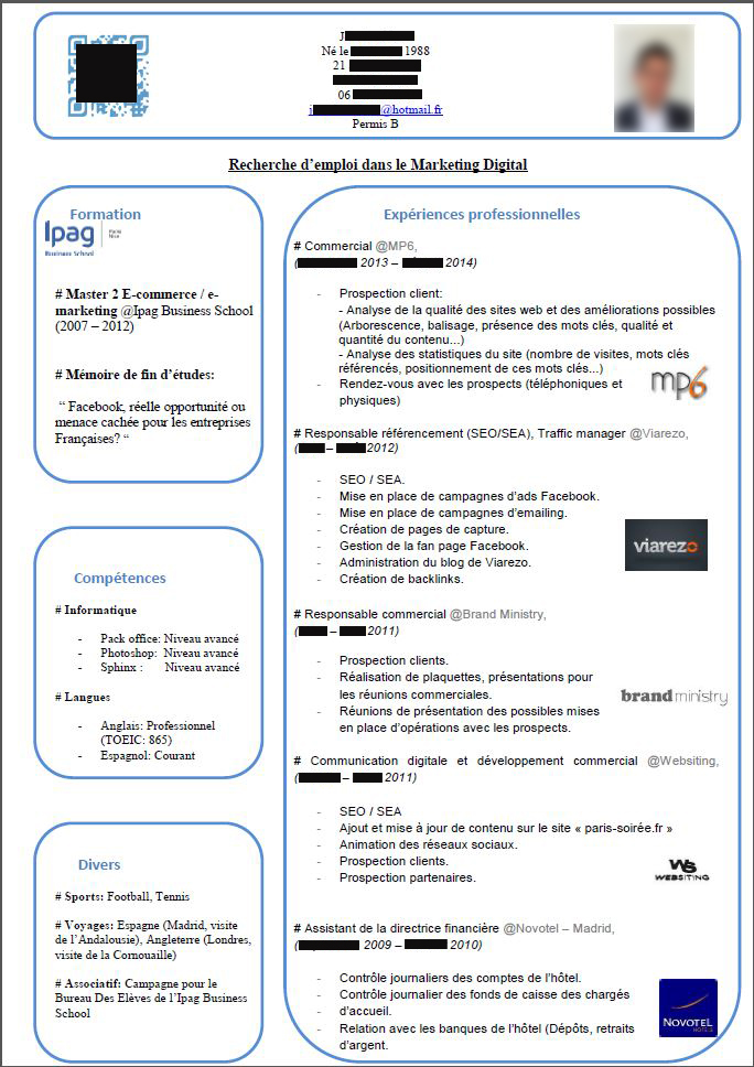 cv de j   jeune dipl u00f4m u00e9 en marketing digital