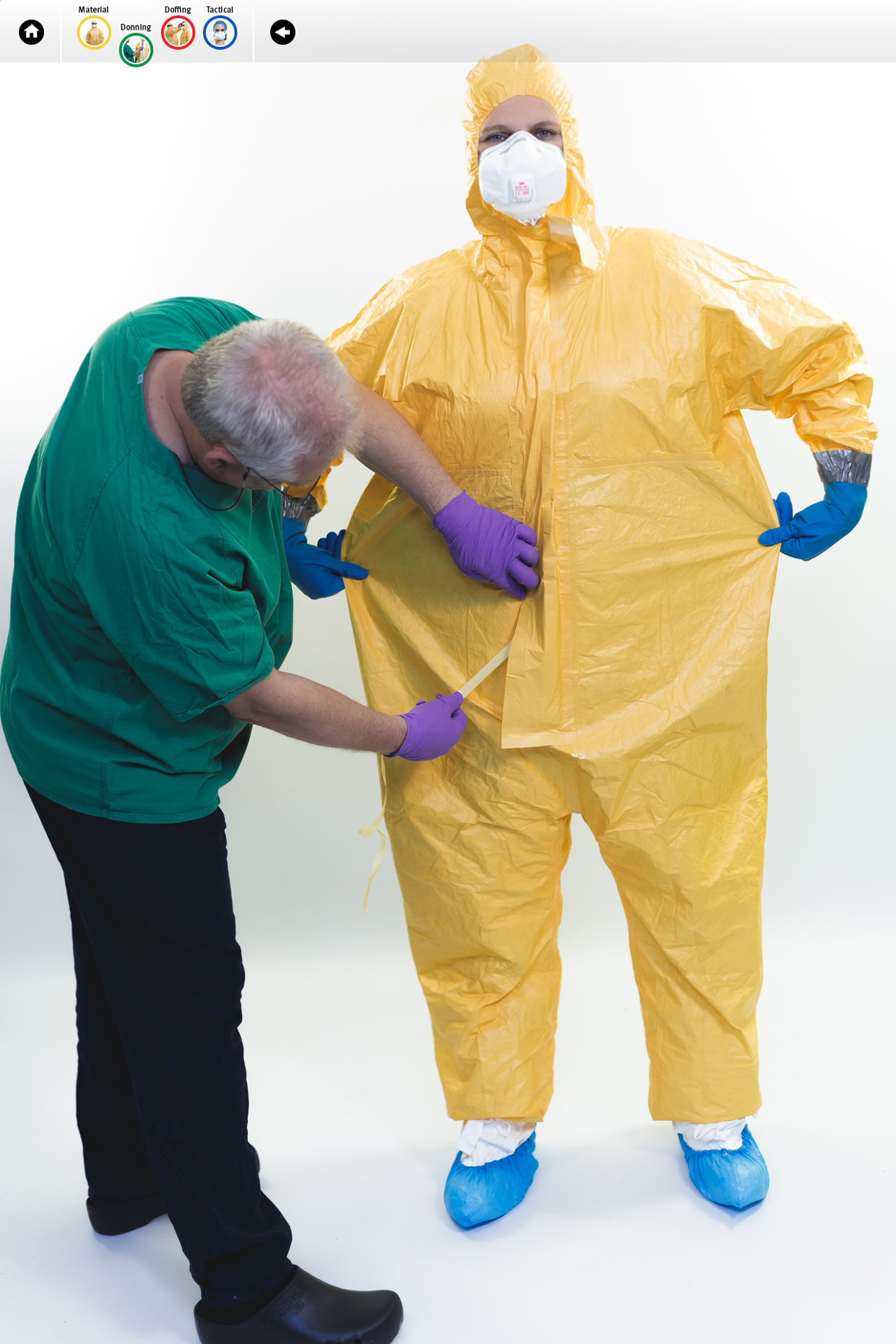 Visuals from ECDC tutorial on the safe use of PPE: DONNING
