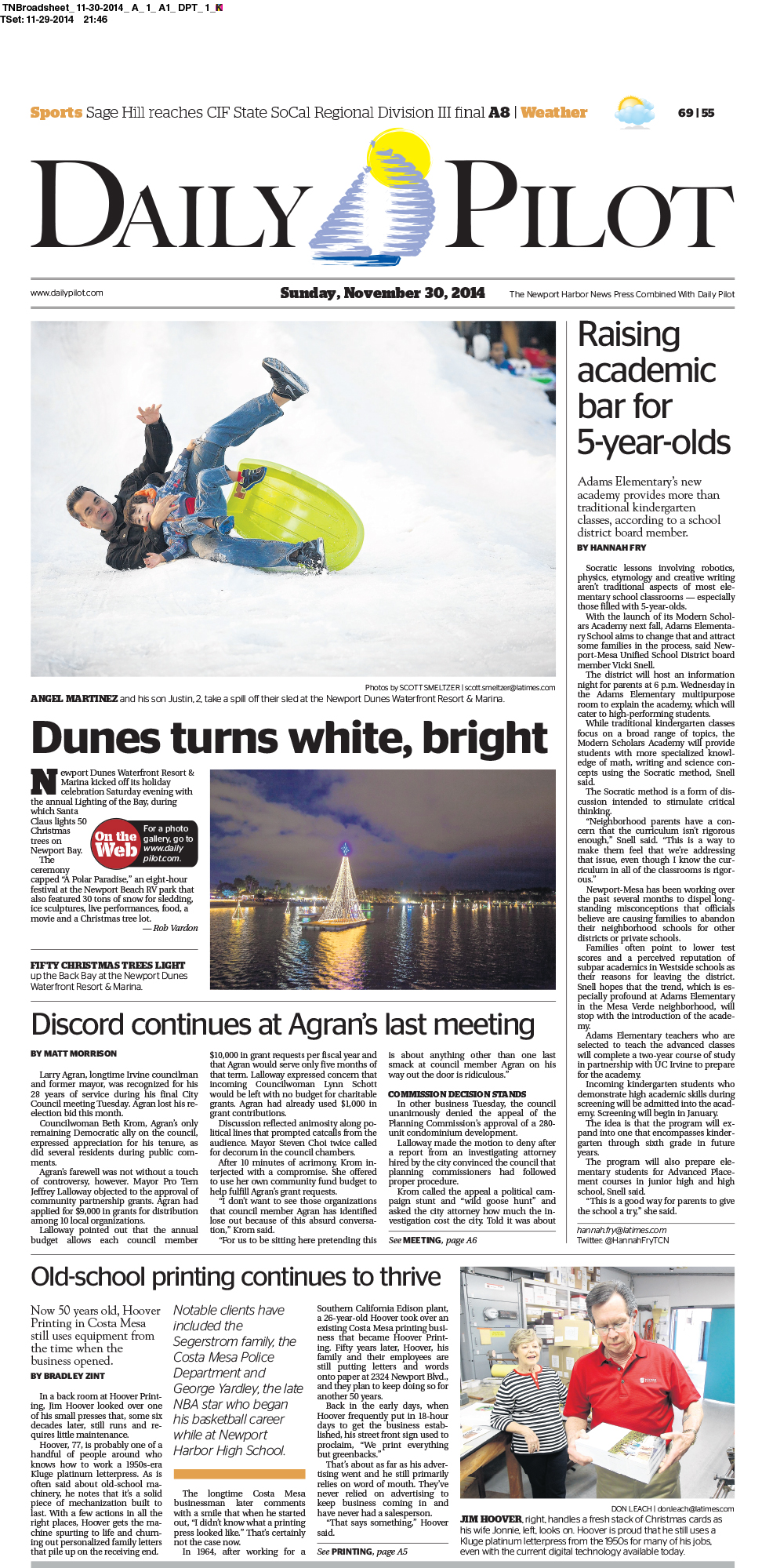 Daily Pilot front cover, Nov. 30, 2014