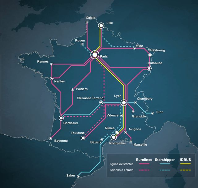 La carte du futur réseau français d'autocars...