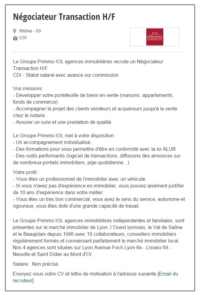 exemple de lettre de motivation negociateur immobilier