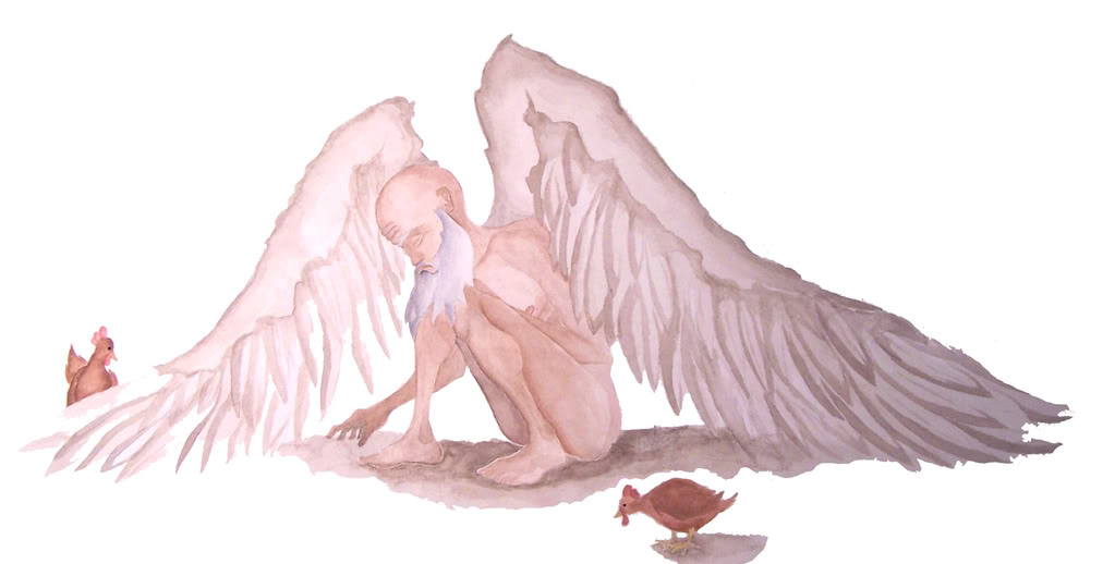 """the very old man with enormous Those who consider themselves religious might even consider themselves more grateful for life's so called many miracles gabriel garcia marquez addresses this issue in his short story """"a very old man with enormous wings."""
