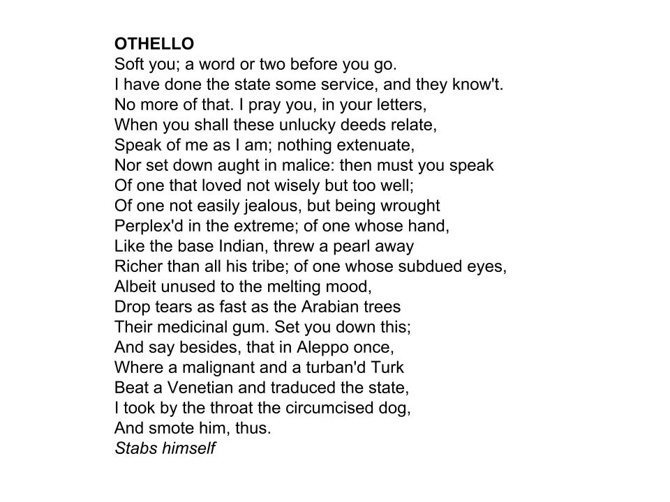 when you shall these unlucky deeds Quotes othello: i pray you, in your letters when you shall these unlucky deeds relate, speak of them as they arenothing extenuate, nor set down aught in malice then must you speak of one that lov'd not wisely but too well.