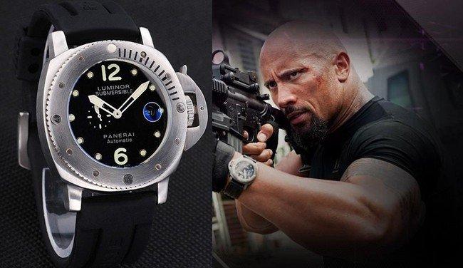 The rock dwayne johnson wear a panerai replica luminor for Celebrity rocks watches