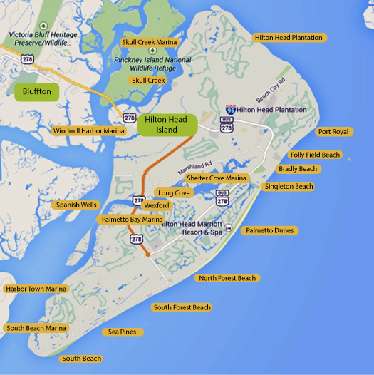 Map Links For Hilton Head Oceanfront Homes For Sale By Area - North forest beach hilton head map