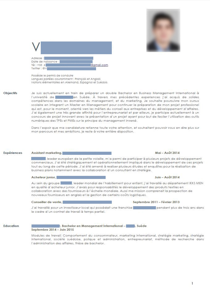 correction de cv   candidat en master de management