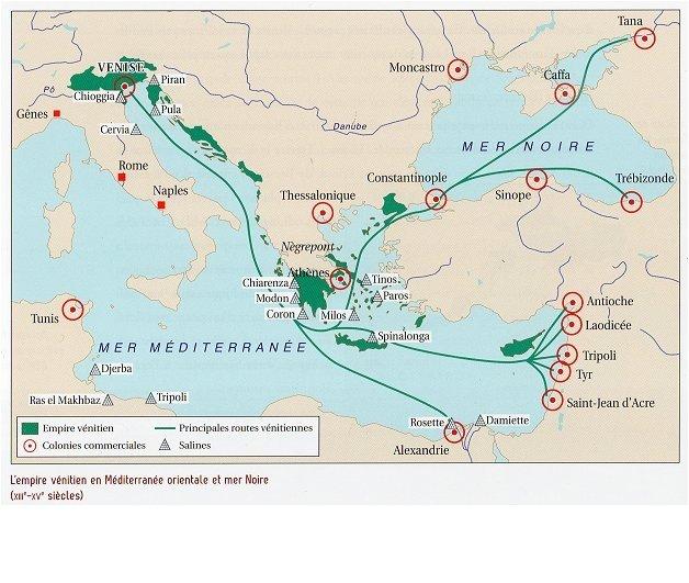 Carte de l'empire de Venise en Méditerranée (XIIe-XVe s.)