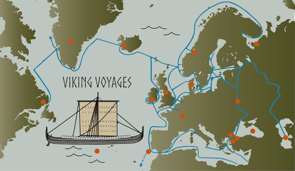 See where the Vikings travelled – Places Traveled Map
