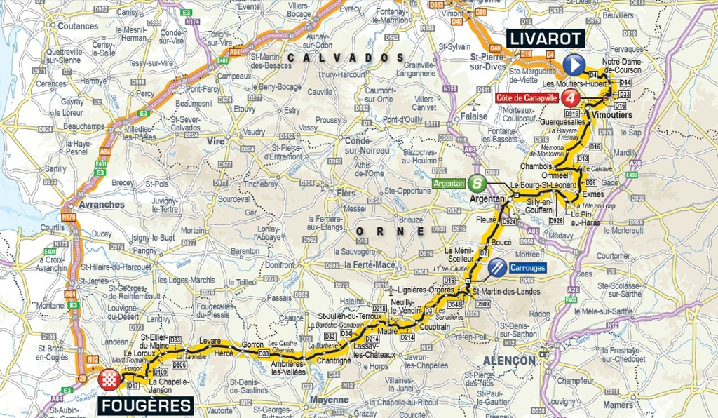 Carte interactive les horaires de passage du tour de france en basse normand - Journal basse normandie ...