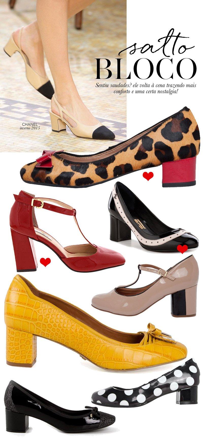 Shopping: sapatos com salto bloco