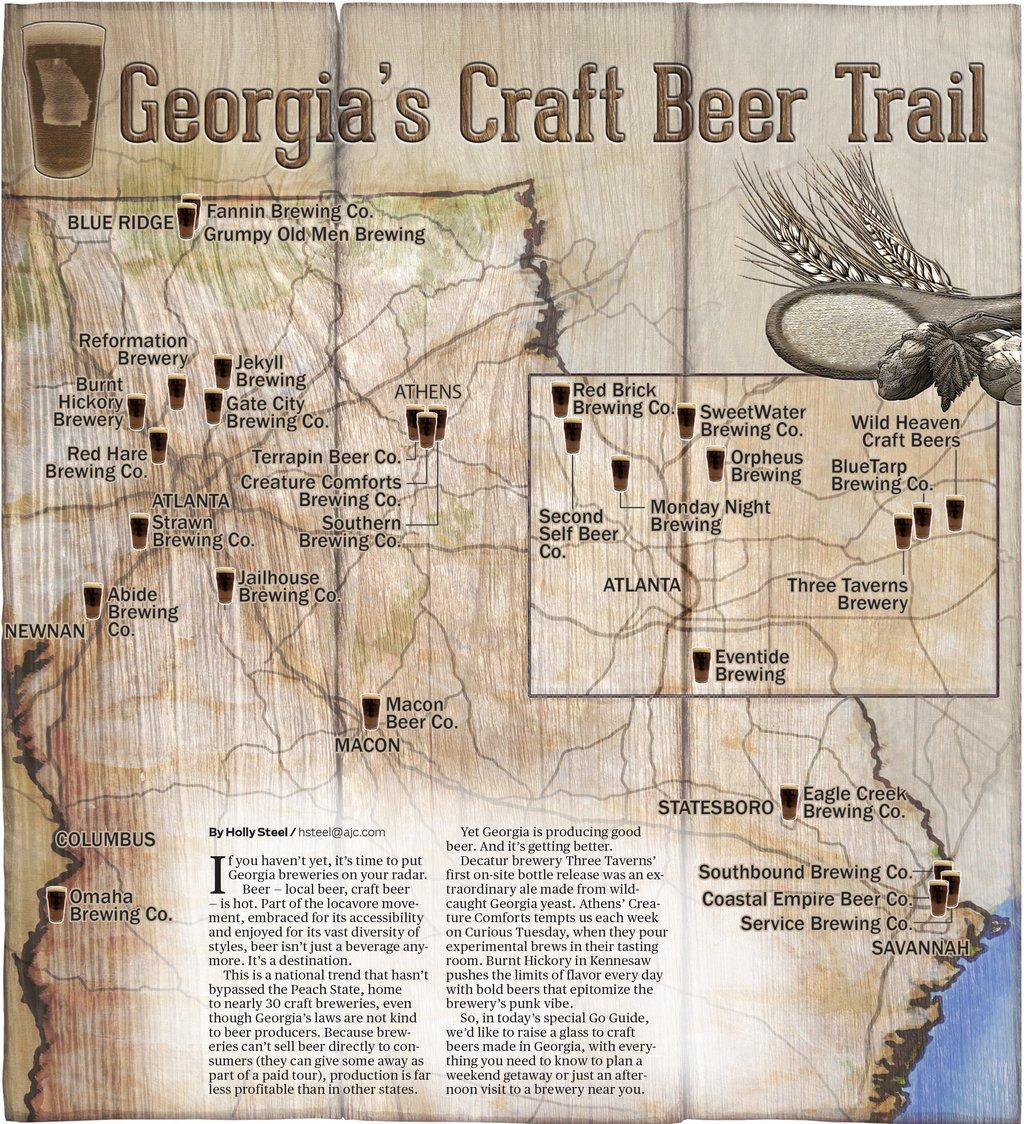 Map georgia 39 s craft beer trail for Car craft athens ga