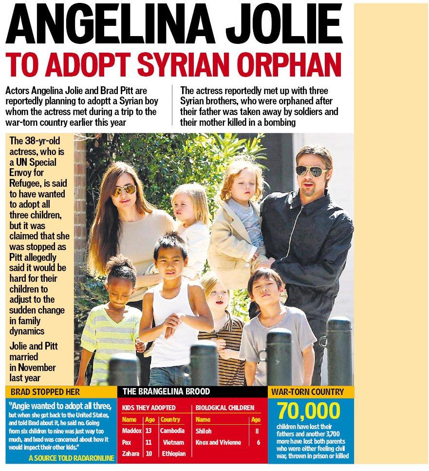 Angelina Joliebrad Pitt Adopting Another Child, A Syrian Orphan   Hollywood  Hindustan Times