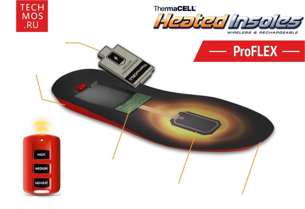 Стельки с подогревом ThermaCell со съемными аккумуляторами зарядным устройством пультом ДУ и чехлом - Medium