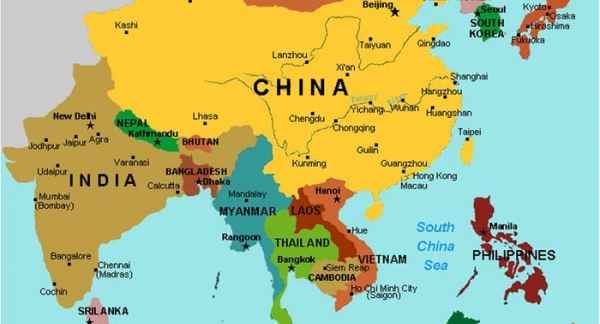 Labeled Map Of East Asia Map Of East Asia Colored Asia Political - Asia political map