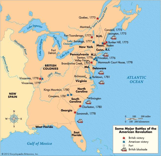 American Revolution EventsLocationsBattles Map ThingLink