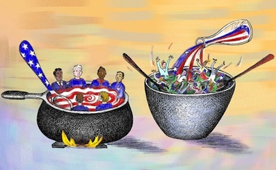 the american melting pot The melting pot theory is a metaphor for describing the assimilation of immigrants into american culture it relies on the image of people from different cultures and backgrounds mixing and melting together into one big cultural pot.