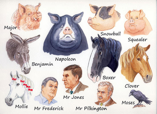 animal farm minor characters Get free homework help on george orwell's animal farm: book summary, chapter summary and analysis, quotes, essays, and character analysis courtesy of cliffsnotes animal farm is george orwell's satire on equality, where all barnyard animals live free from their human masters' tyranny.