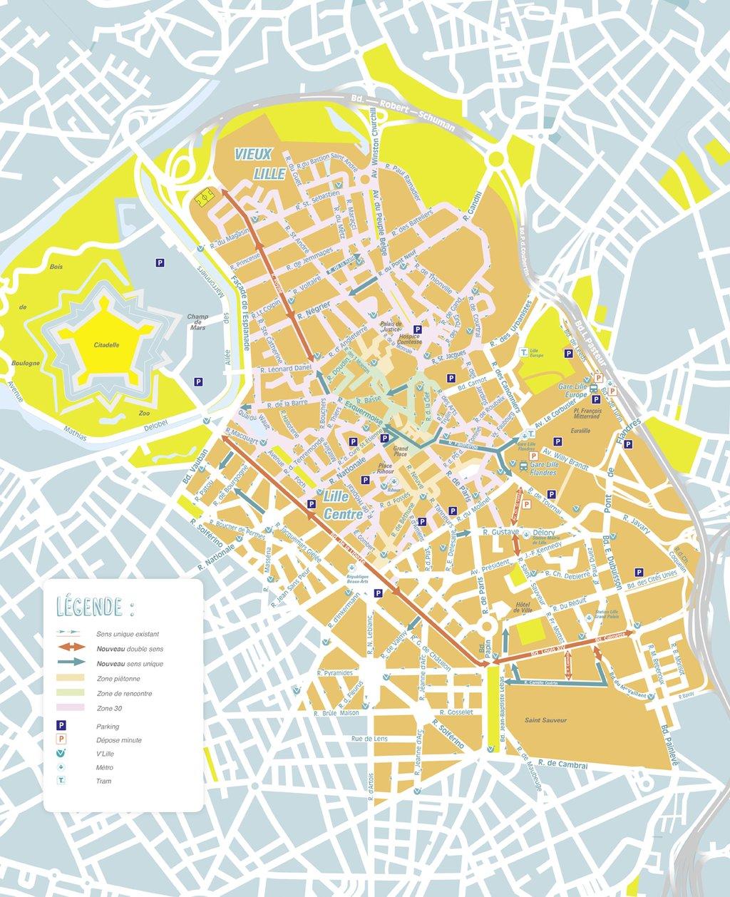 Nouveau plan de circulation lille ce qui change partir du lundi 22 ao t - Metro lille braderie ...