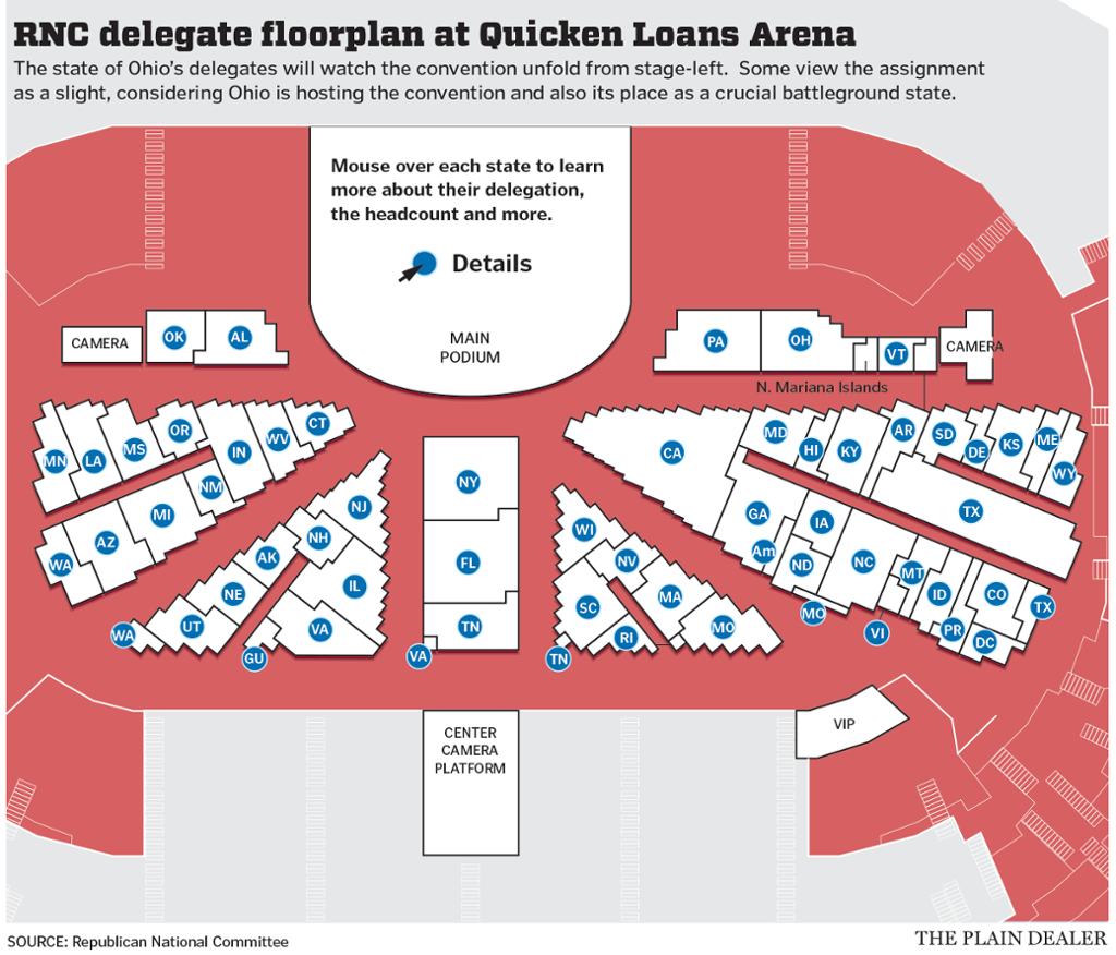 Seating charts quicken loans arena official website - 2016 Republican National Convention Delegate Seating Chart Released Cleveland Com