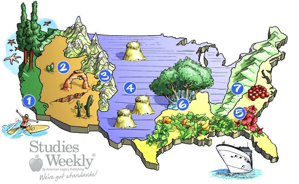 USA Regions Ashley And Celine ThingLink - Map of us landforms