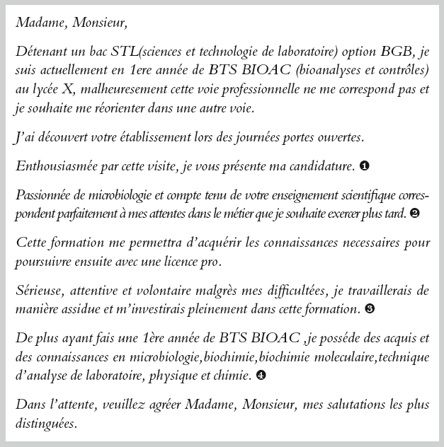 modele lettre de motivation reorientation licence