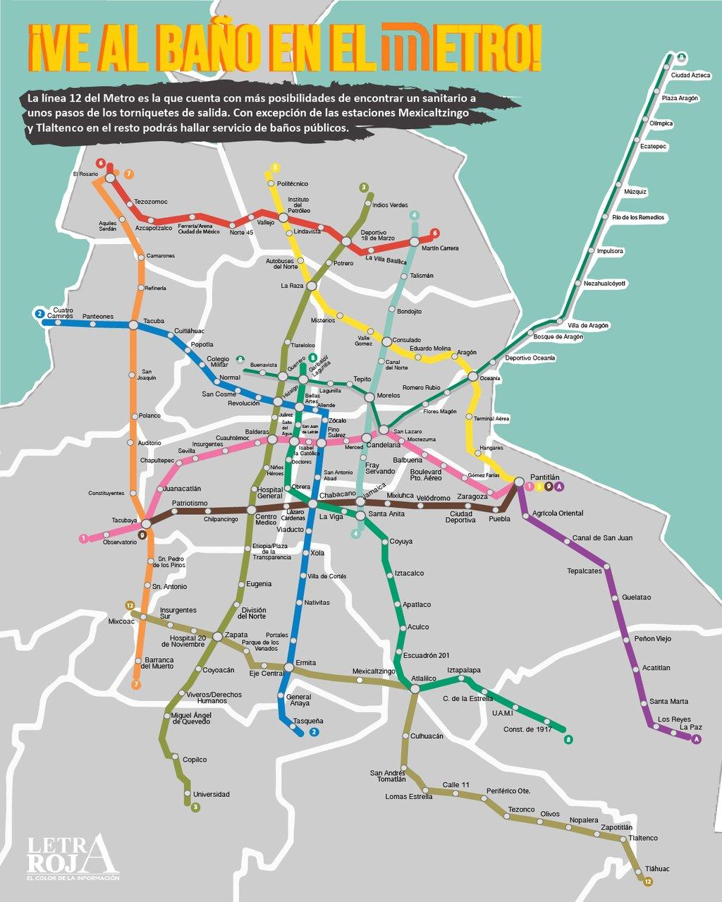 Aqu Un Mapa De Los Ba Os En El Metro Ciudadanos En Red