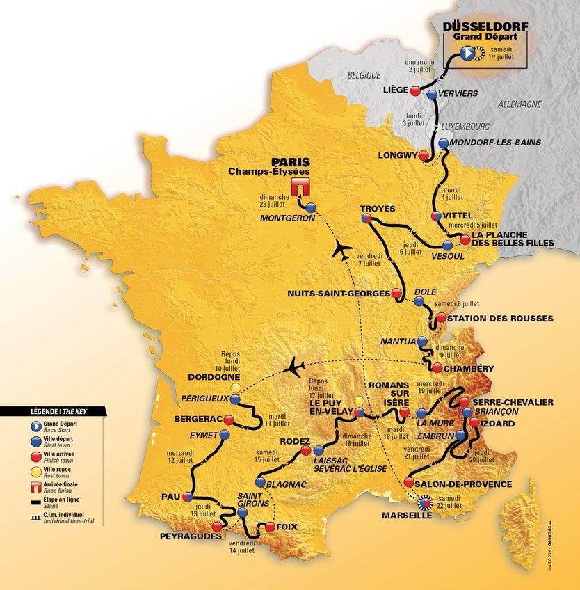 Le parcours du Tour de France 2018
