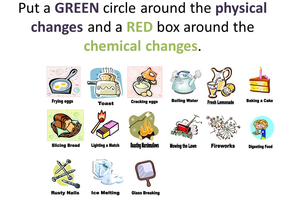 chemistry physical and chemical changes These chemistry homework pages are perfect for students to practice identifying chemical changes as opposed to physical changes on one page, students will identify from pictures common.