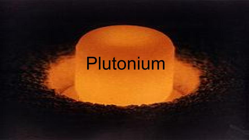 power of plutonium Plutonium (ipa: /ˌpluːˈtəʊniəm/) is a radioactive, metallic chemical element it has the symbol pu and the atomic number 94 it is the element used in most modern nuclear weapons the most significant isotope of plutonium is 239pu, with a half-life of 24,100 years.