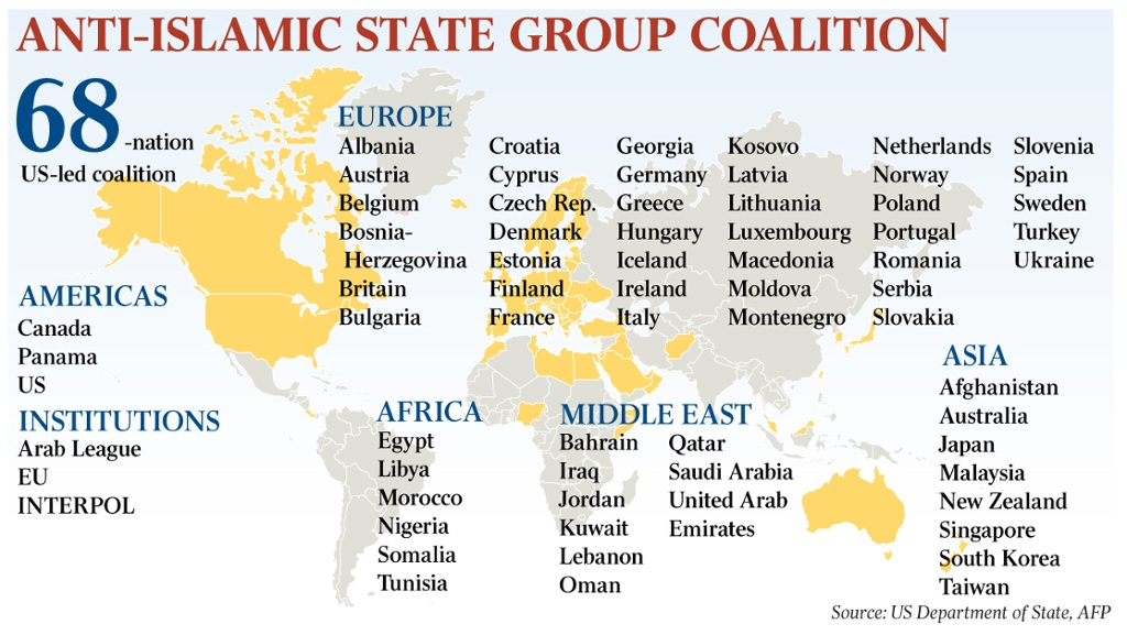 Image result for coalition to defeat isis list of 68 countries