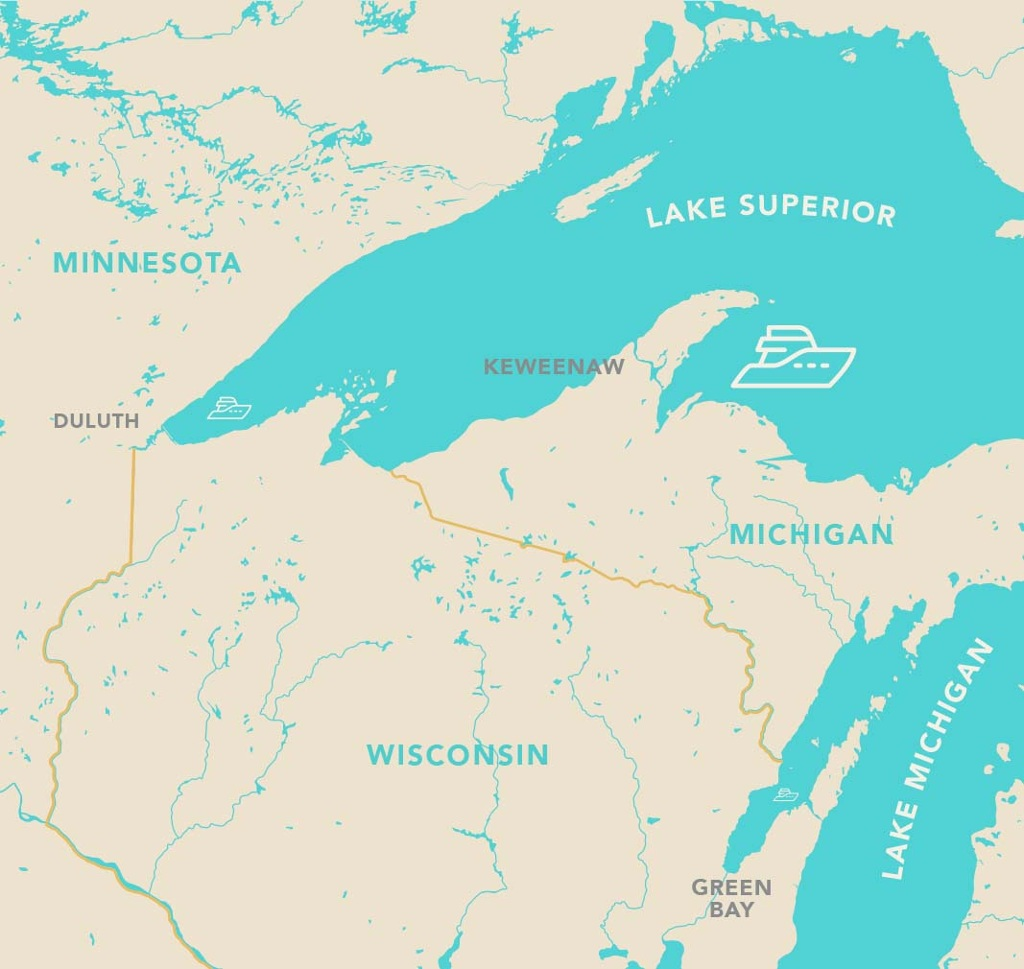 Map of Michigan, Wisconsin, and Minnesota