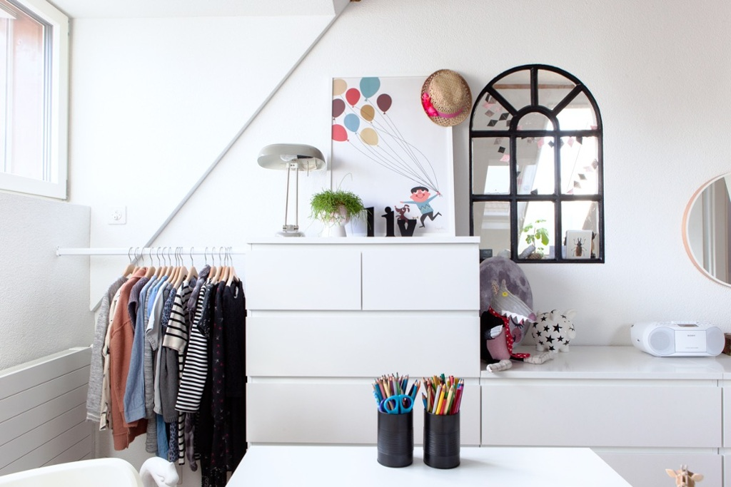 Wardrobe constructed from MALM chests of drawers and an ALGOT hanging rail.