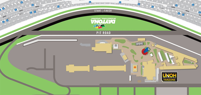 DAYTONA 500 UNOH Fanzone/Pre-Race Interactive Map on