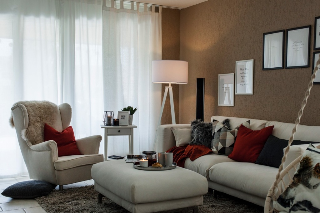 The living room, decorated in Scandinavian colours